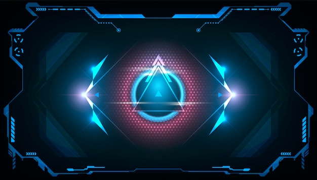 Abstract futuristic triangle hud with shining blue and pink light.