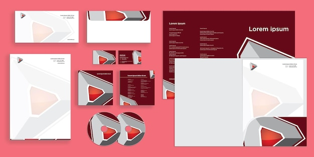 Abstract futuristic triangle technology modern corporate business identity stationary