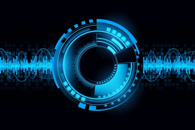 Abstract futuristic wave sound circuit technology background