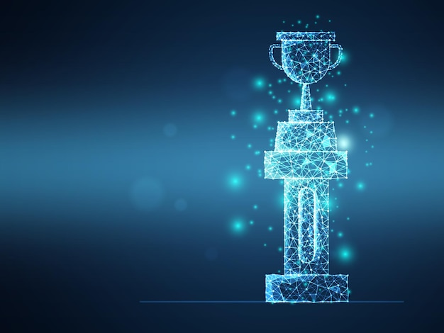 Abstract futuristic wireframe mesh trophy on pillar vector illustration digital technology background
