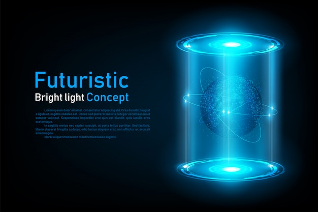Abstract futuristic world connection hologram