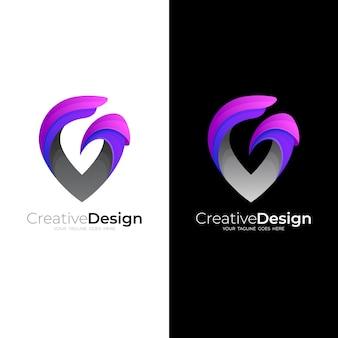 抽象的なgロゴと場所のアイコン