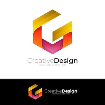 六角形のデザインベクトルと抽象的なgロゴ