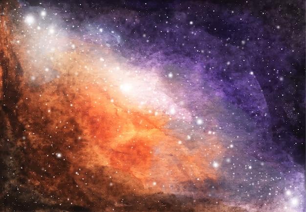 추상 은하계 그림. 별 수채화 우주 텍스처입니다. 밤하늘. 은하수 깊은 성간. 보라색과 갈색 구름, 흰색 별 스플래시와 밝은 하늘.