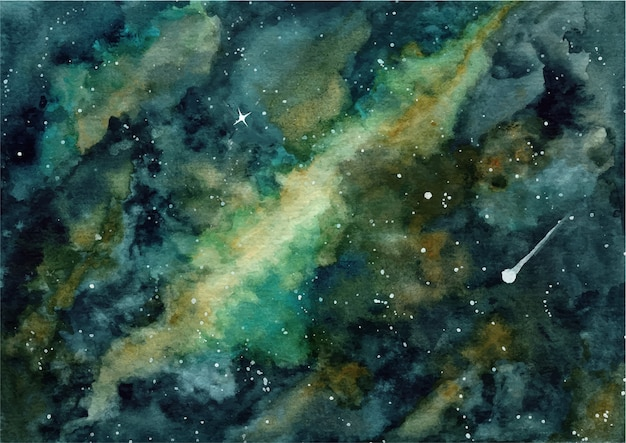 Abstract galaxy with watercolor background