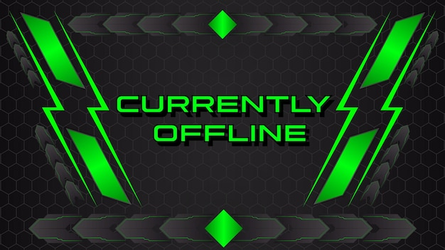 Abstract gaming banner offline twitch banner template premium vector
