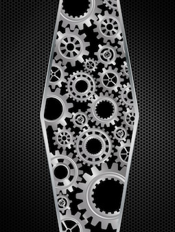 Abstract gears concept on black background