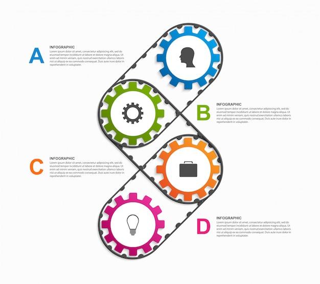 抽象的な歯車のインフォグラフィック。