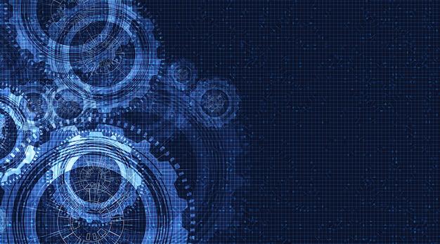 Абстрактное колесо шестерни и петух на фоне технологии,