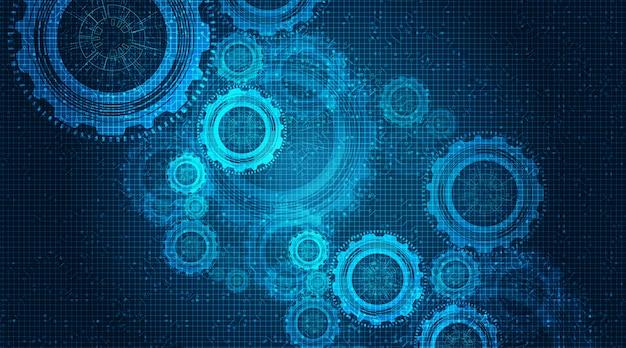 Абстрактное колесо шестерни и петух на фоне технологии