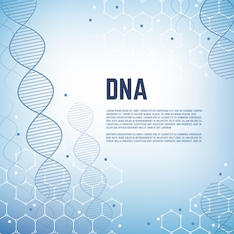Abstract genetics science vector background template with dna human chromosome molecule model