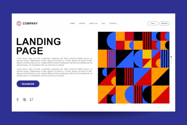 Abstract geographic landing page template design