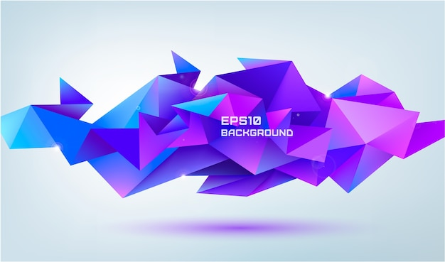 Abstract geometric 3d facet shape isolated. use for banners, web, brochure, ad, poster, etc. low poly, origami modern style background. purple Premium Vector