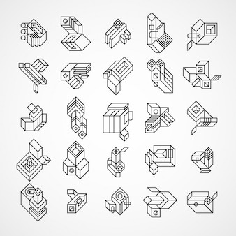 Abstract and geometric 3d logos set made with lines