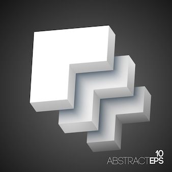 Abstract geometric 3d white shapes