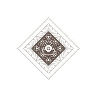 白い背景の上の抽象的な幾何学的な錬金術オカルトシンボル