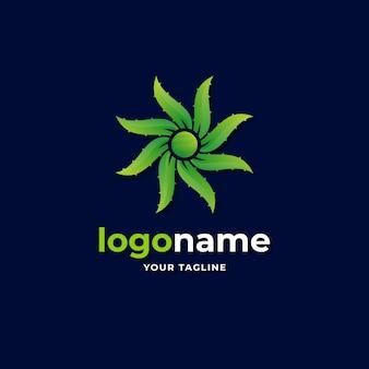 Abstract geometric aloe vera logo gradient style for organic skin care herbal