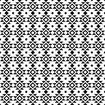 抽象的な幾何学的なアメリカの民族の先住民族のパターン黒と白の幾何学模様