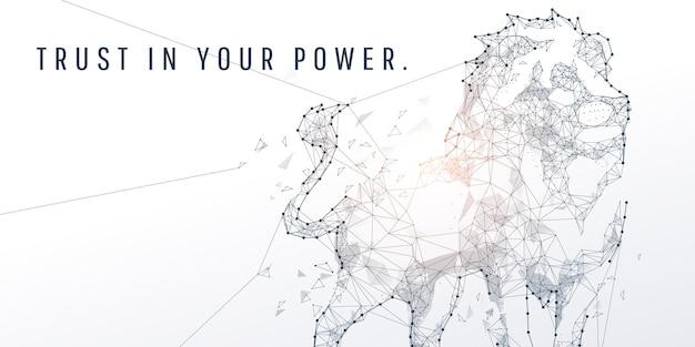 ライオンの抽象的な幾何学的および頂点と技術の力と未来の概念、eps10ベクトル
