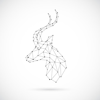 Abstract geometric antelope head in polygonal style. geometric linear gazelle. vector illustration.