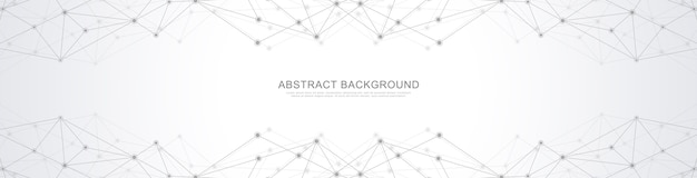 Абстрактный геометрический фон и соединительные точки и линии. подключение к глобальной сети.