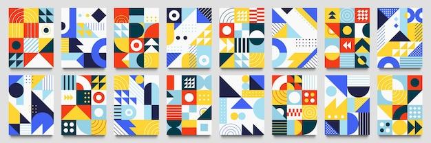 抽象的な幾何学的な背景。ネオジオパターン、ミニマリストレトロポスターグラフィックイラストセット。正方形と丸い色でトレンディな抽象的なパターン