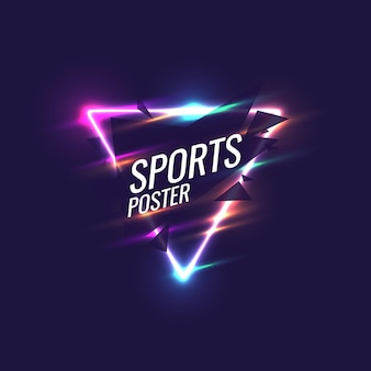 Abstract geometric background. neon sports poster with the geometric figures. vector illustration.