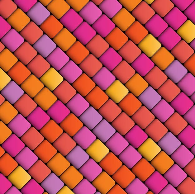 正方形の抽象的な幾何学的な背景、暖かい色の多色パターン