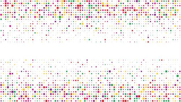 사각형의 추상적인 기하학적 배경입니다. 빈 공간이 있는 여러 가지 빛깔의 픽셀 배경. 벡터 일러스트 레이 션.