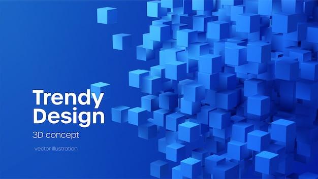 青い3dフライングキューブと抽象的な幾何学的な背景。