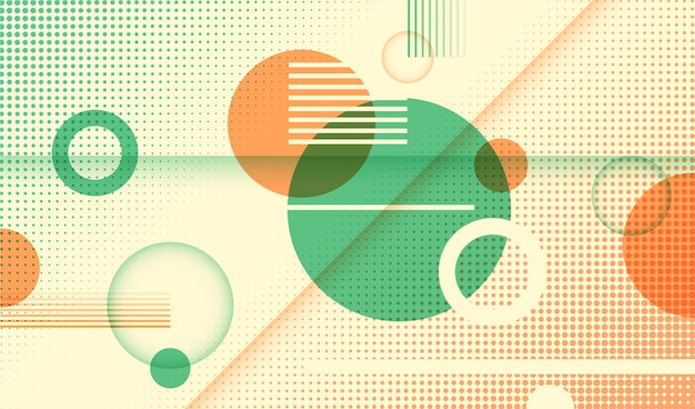 Abstract geometric background with circles and various patterns.