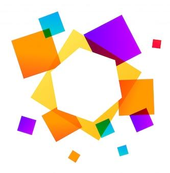 Astratto sfondo geometrico con forme quadrate colorate.