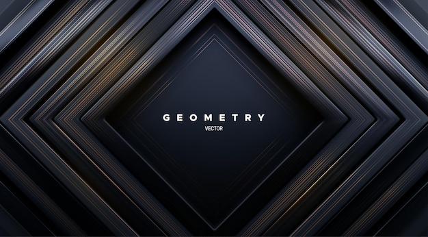 Abstract geometric background with concentric black square frames and golden brushed texture
