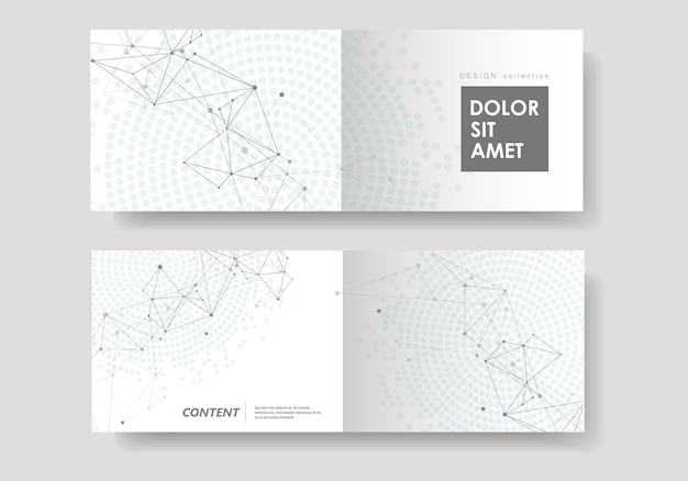Abstract geometric background with connected lines and dots. technology  brochure cover