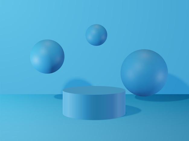 실린더와 공 추상적 인 기하학적 배경 프리미엄 벡터