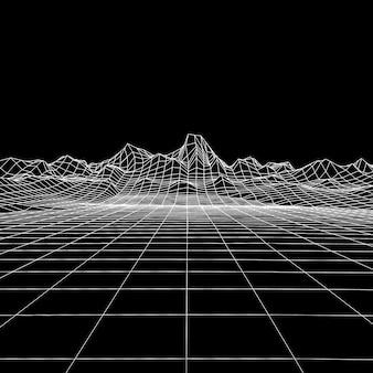 디지털 산 풍경과 추상적 인 기하학적 배경입니다.