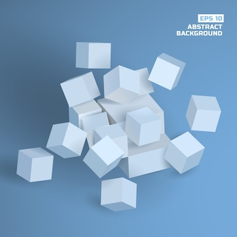Abstract geometric background with gray 3d cubes