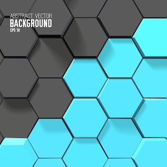 Abstract geometric background with gray and blue hexagons