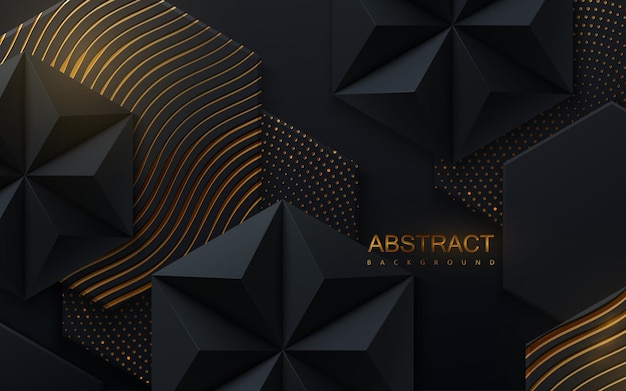 Abstract geometric background with hexagonal black shapes and golden wavy pattern and glitters