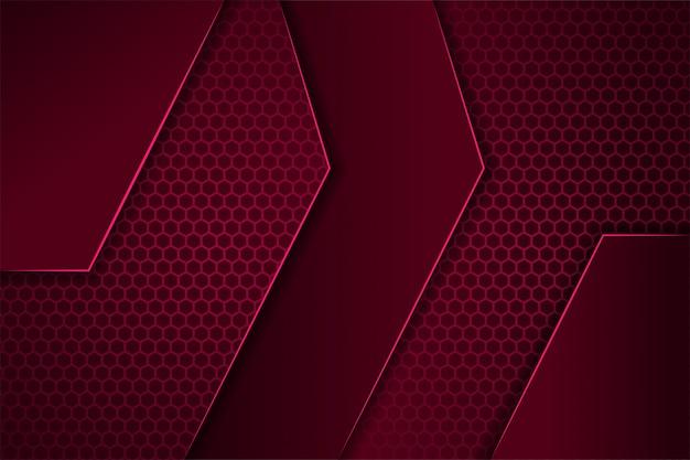 水平レイアウトの抽象的な幾何学的な背景は、ボーダー形状として濃い赤のグラデーションとピンクを使用します。六角形のパターン。