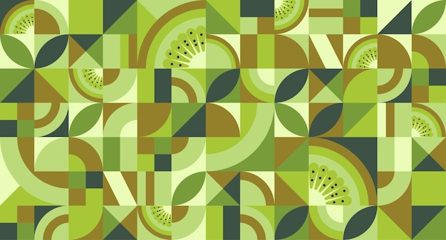 Abstract geometric background with kiwi fruit in bauhaus style texture with simple repeating shapes mosaic retro wallpaper seamless pattern vector illustration