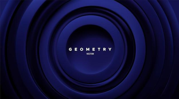 ネイビーブルーの同心リングと抽象的な幾何学的な背景
