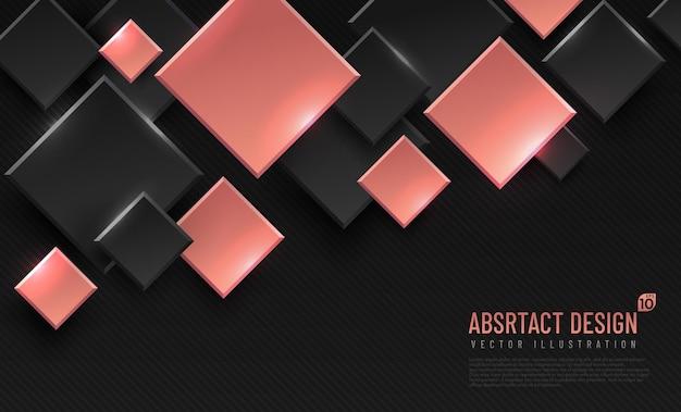 마름모 모양, 블랙 및 핑크 골드 색상으로 추상적 인 기하학적 배경.