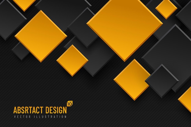 Abstract geometric background with rhombus shapes, black and yellow golden color.