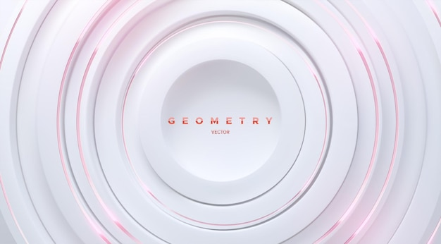 Abstract geometric background with white concentric circle shapes and pink stripes