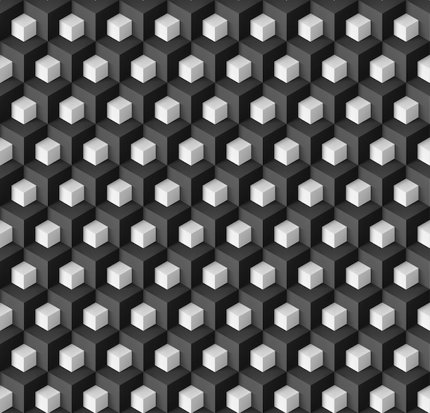 Abstract geometric background with white cubes on black