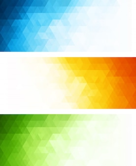 Abstract geometric banner background set with triangles