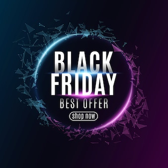 Abstract geometric banner for black friday sale. glowing plexus triangles. modern design for your business. glowing text.