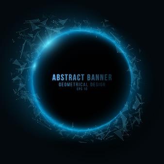 Абстрактный геометрический баннер из сплетений треугольников на темном фоне. голубые светящиеся соединенные треугольные элементы. научное обоснование вашего проекта.