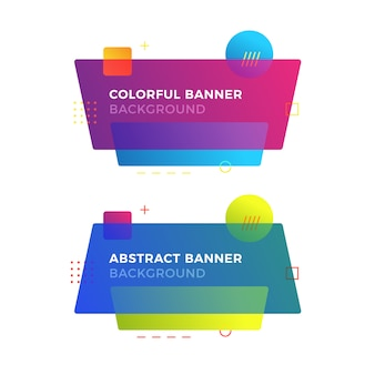 Abstract geometric banner in memphis design style